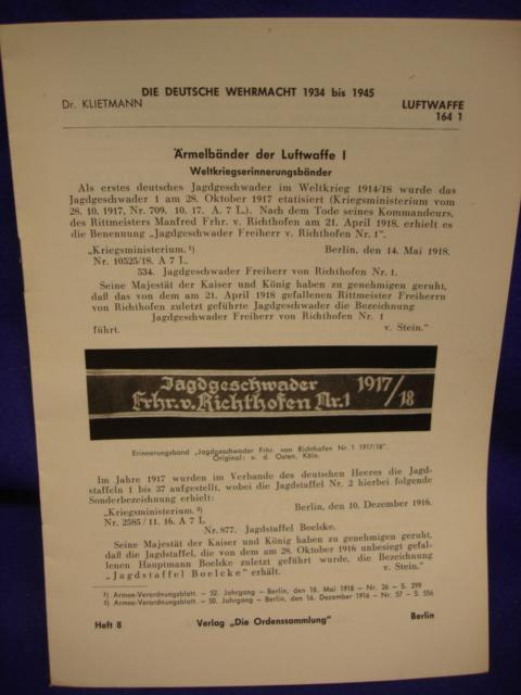 Die Deutsche Wehrmacht 1934 - 1945 / Klietmann: Heft 8: Ärmelbänder der Luftwaffe. I.: Weltkriegserinnerungsbänder
