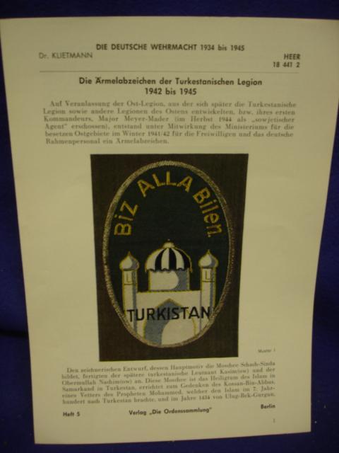 Die Deutsche Wehrmacht 1934 - 1945 / Klietmann: Heft 5: Die Ärmenabzeichen der Turkestanischen Legion 1942 bis 1945.
