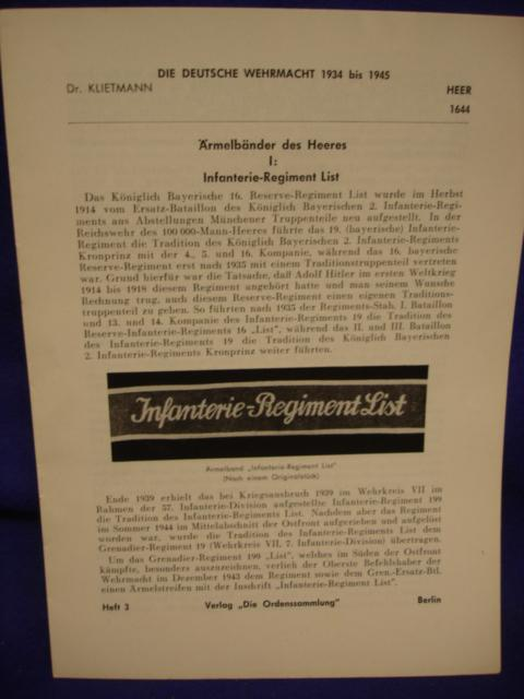 Die Deutsche Wehrmacht 1934 - 1945 / Klietmann: Heft 3: Ärmelbänder des Heeres.I: Infanterie-Regiment List