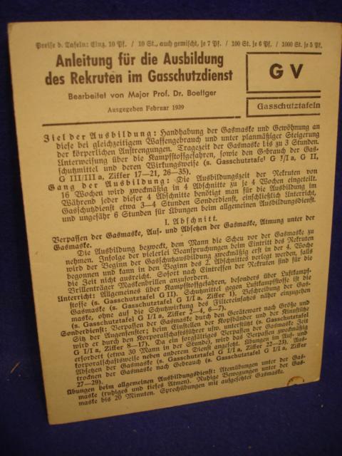 Gasschutztafeln. Anleitung für die Ausbildung des Rekruten im Gasschutzdienst.