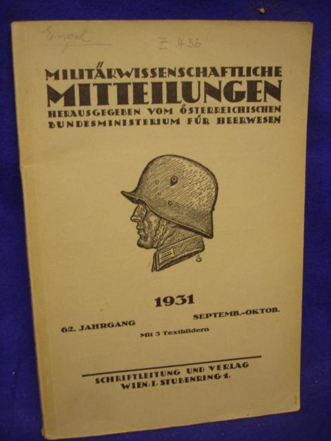 Militärwissenschaftliche Mitteilungen 1931. 62. Jahrgang September-Oktober.