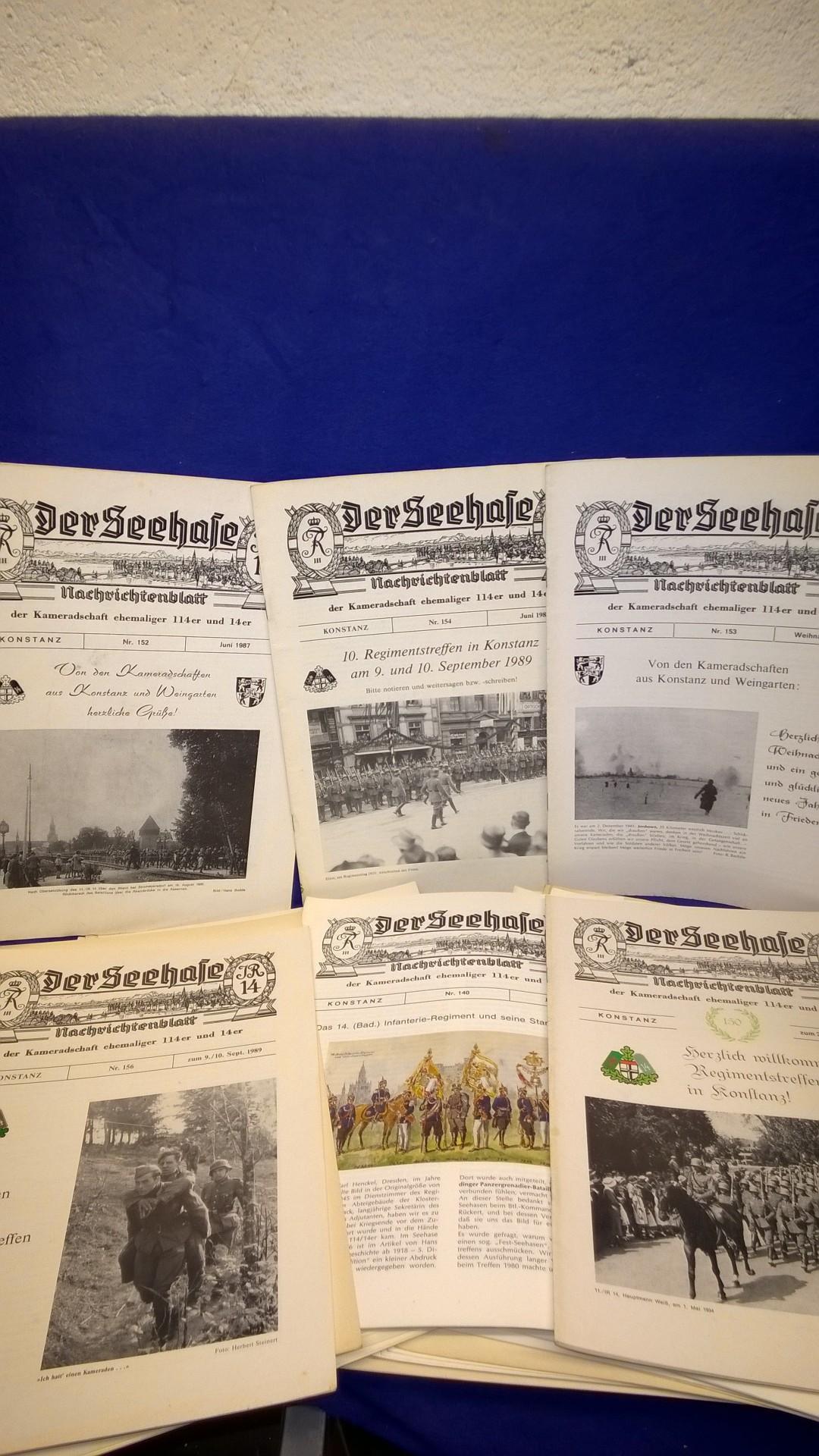 """Konvolut von 46 Heften der Reihe """"Der Seehase"""", Nachrichtenblatt der Kameradschaft ehemaliger 114er und 14er.( Bad.Infanterie-Regiment 114 und 14 sowie im 2.Weltkrieg Infanterie-Regiment 114+14)."""