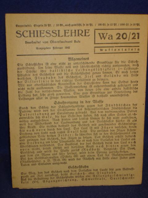Waffentafeln Wa 20/21. Schiesslehre.