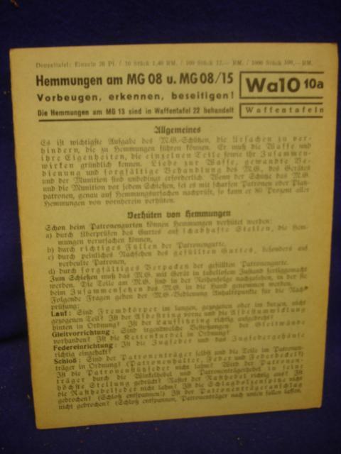 Waffentafeln Wa 10a: Hemmungen am MG 08 und MG 08/15.