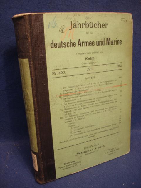 Jahrbücher für die deutsche Armee und Marine. Jahrgang 1912. Juli bis Dezember.