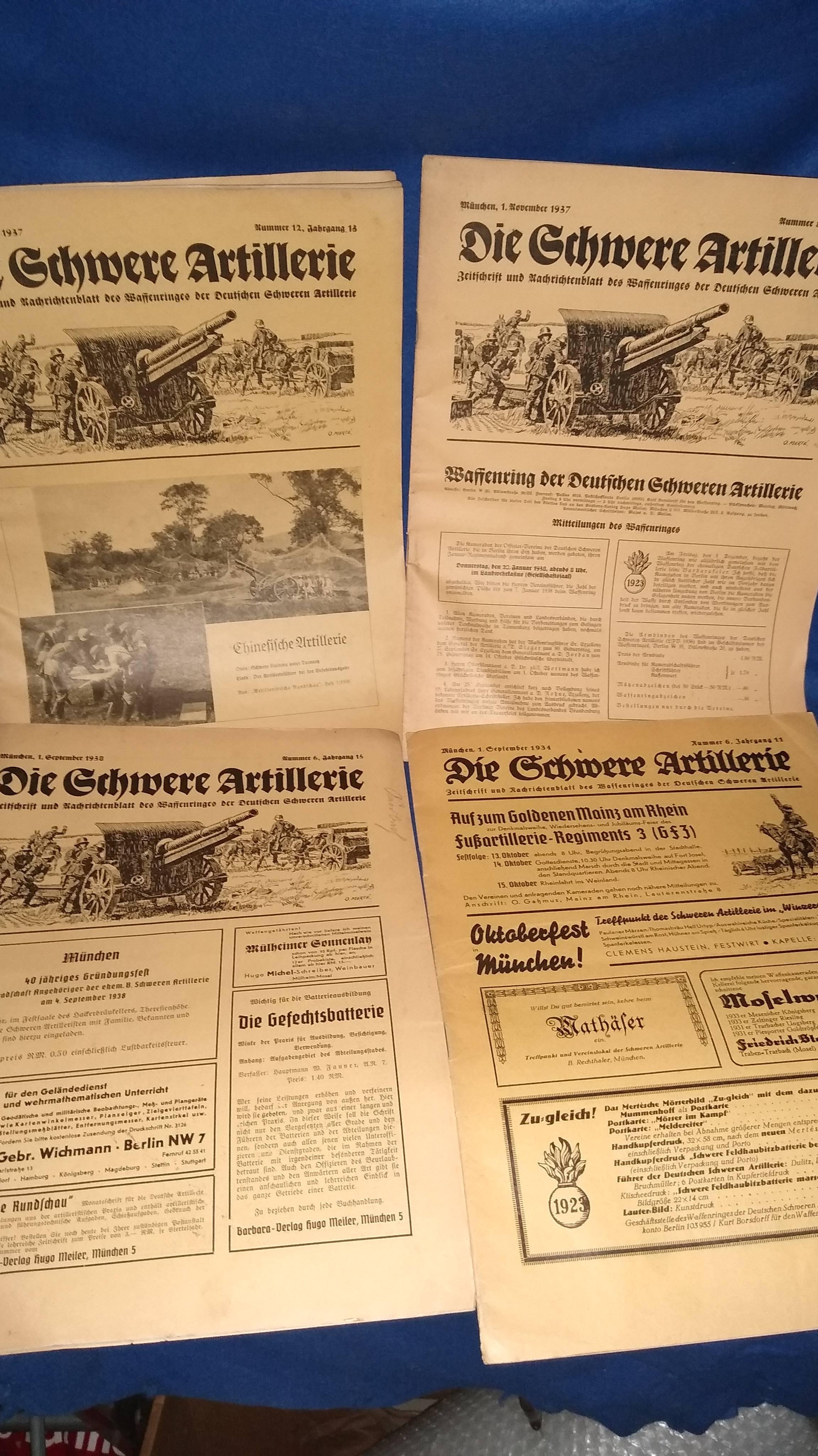 """Konvolut von 4 Heften der Zeitschrift """" Die Schwere Artillerie"""" aus den Jahren 1934-1938."""