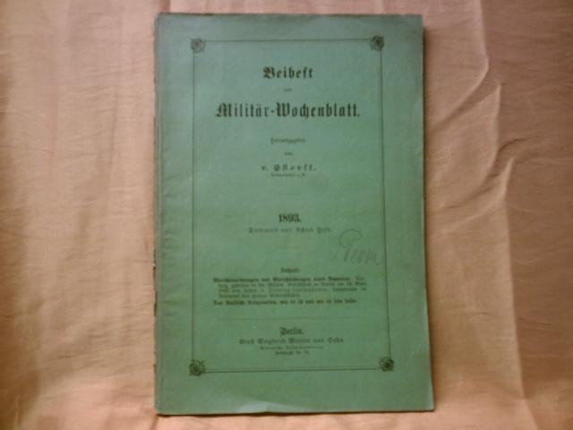 Beiheft zum Militär-Wochenblatt// Themenbeiträge u.a: Wilhelm von Plönnies