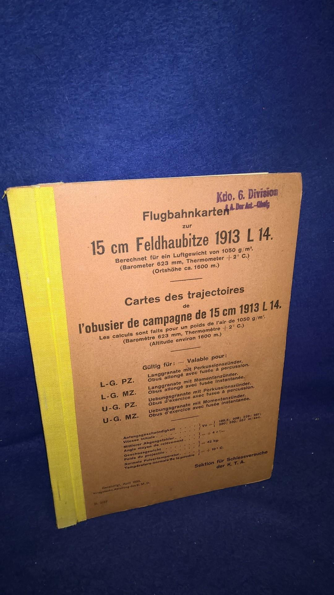 Flugbahnkarten zur 15 cm Feldhaubitze 1913 L 14 (deutsche Fertigung durch Krupp). Selten.