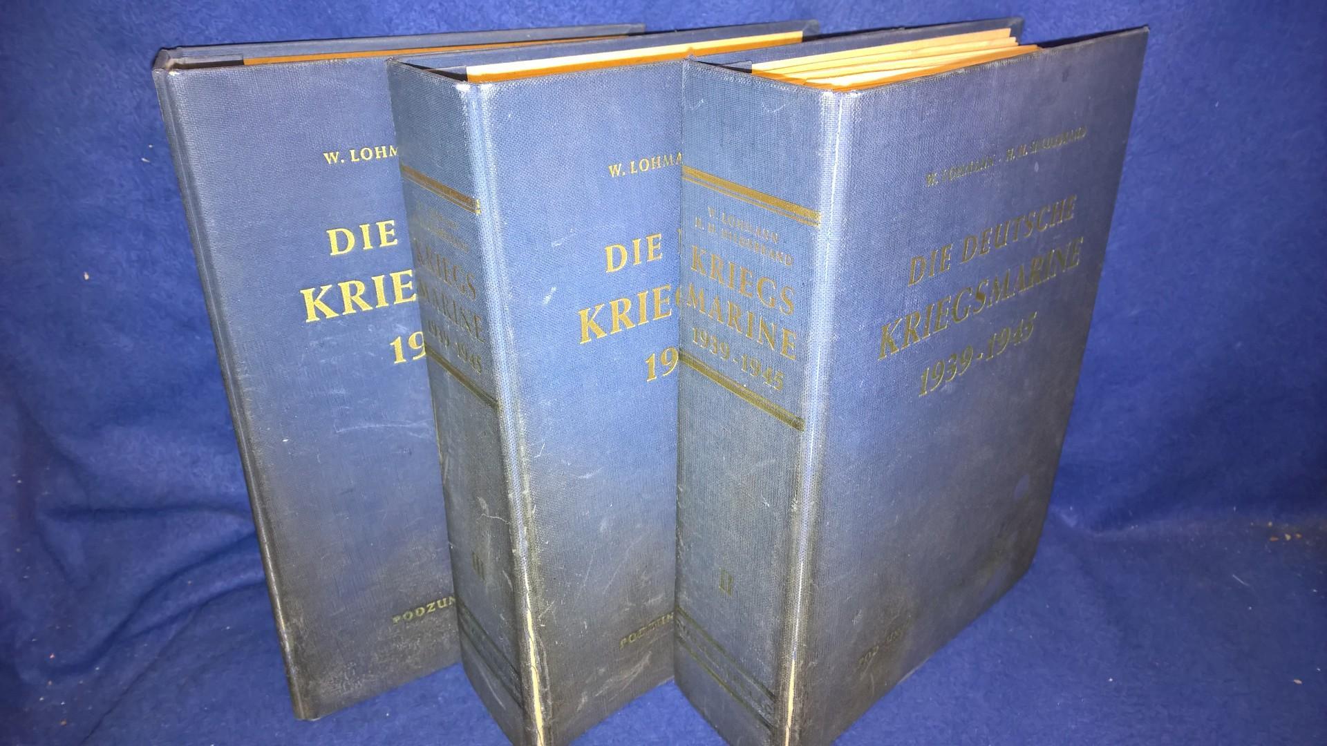 Die Deutsche Kriegsmarine 1939 - 45 . Seltene deutsche Loseblattausgabe mit zahlreichen Tafeln. Band 1-3 kompl. mit allen Lieferungen 1-293